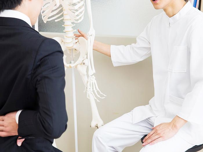 骨盤の説明をしている先生
